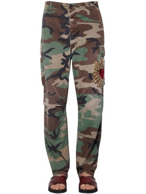 Heart Embroidered Camouflage Pants