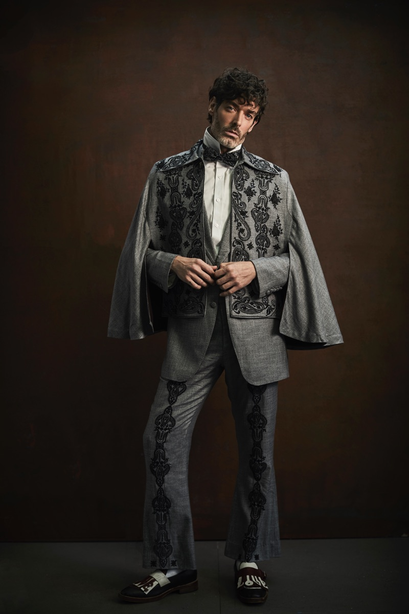 The ultimate gentleman, Richard Biedul models a look by Helen Anthony.