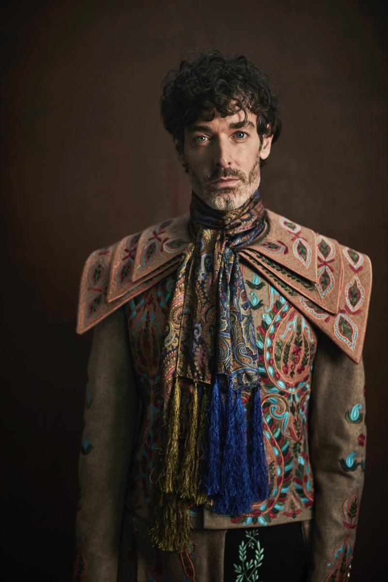 Top model Richard Biedul wears Helen Anthony.