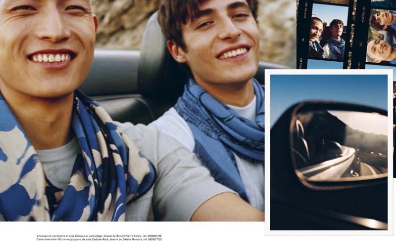 All smiles, models Zhang Wenhui and Oscar Kindelan wear Hermès scarves.