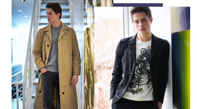 Pictured left, Brodie Scott wears an Alyx coat with a Sunspel v-neck sweater, and Paige jeans.