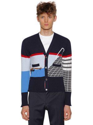 Intarsia Stripe Cashmere Cardigan