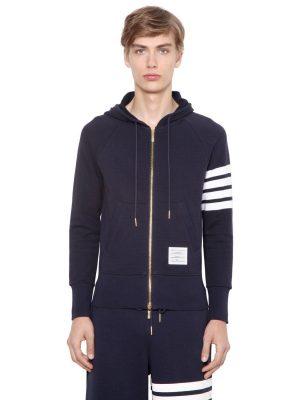 Intarsia Stripe Hooded Cotton Sweatshirt