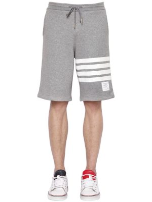 Intarsia Stripes Cotton Jersey Shorts