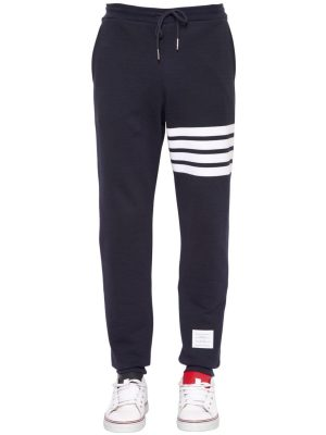 Intarsia Stripes Cotton Jogging Pants