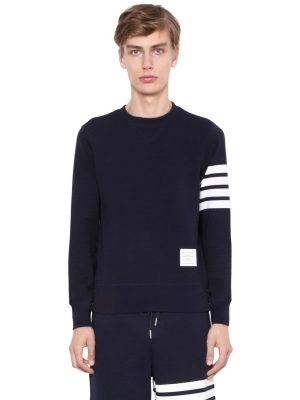 Intarsia Stripes Cotton Sweatshirt