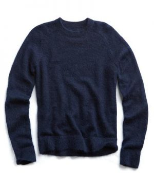 Italian Brushed Wool Crewneck Sweater in Navy