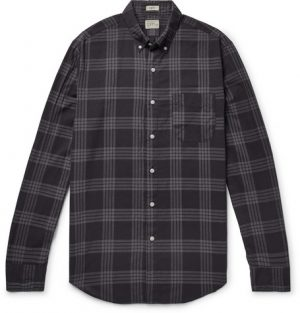 J.Crew - Button-Down Collar Over-Dyed Checked Cotton-Blend Shirt - Men - Black