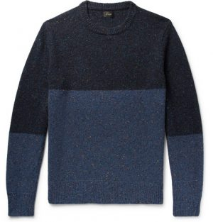 J.Crew - Colour-Block Mélange Donegal Wool-Blend Sweater - Men - Navy