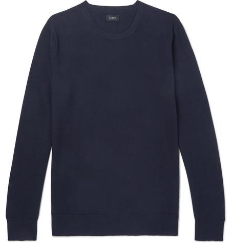 J.Crew - Cotton and Cashmere-Blend Piqué Sweater - Men - Navy