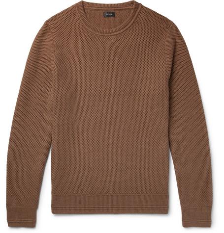 J.Crew - Honeycomb-Knit Cotton Sweater - Men - Brown