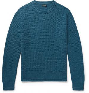 J.Crew - Honeycomb-Knit Cotton Sweater - Men - Petrol