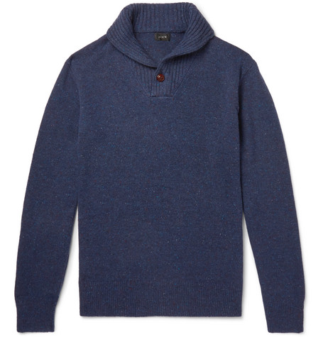 J.Crew - Shawl-Collar Donegal Merino Wool-Blend Sweater - Men - Navy