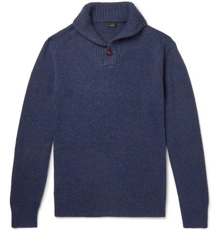 J.Crew - Shawl-Collar Donegal Merino Wool-Blend Sweater - Men - Navy