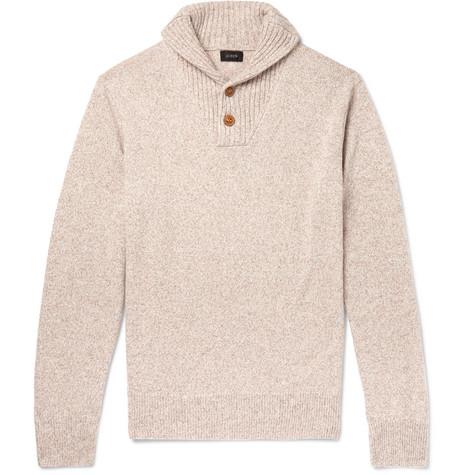 J.Crew - Shawl-Collar Mélange Merino Wool-Blend Sweater - Men - Cream