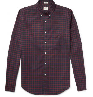 J.Crew - Slim-Fit Button-Down Collar Checked Pima Cotton Oxford Shirt - Men - Navy