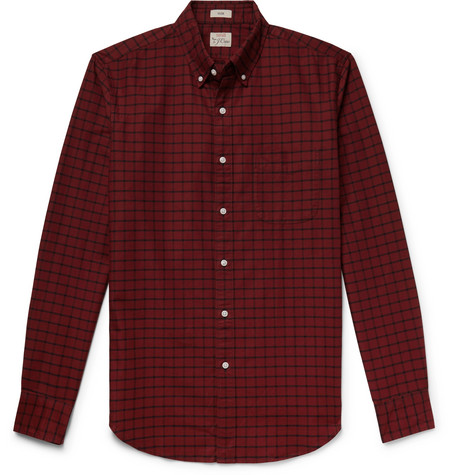 J.Crew - Slim-Fit Button-Down Collar Checked Pima Cotton Oxford Shirt - Men - Red