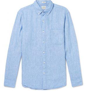J.Crew - Slim-Fit Button-Down Collar Linen Shirt - Men - Light blue