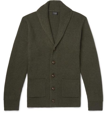 J.Crew - Slim-Fit Shawl-Collar Wool-Blend Cardigan - Men - Dark green