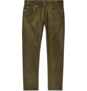 J.Crew - Slim-Fit Stretch-Cotton Corduroy Trousers - Men - Army green