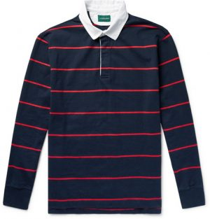 J.Crew - Twill-Trimmed Striped Cotton-Jersey Polo Shirt - Men - Navy