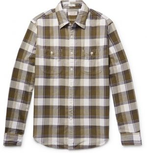 J.Crew - Wallace & Barnes Slim-Fit Checked Cotton-Flannel Shirt - Men - Army green