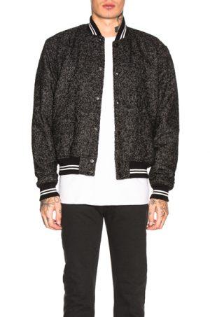JOHN ELLIOTT Cropped Baseball Jacket in Black. - size L (also in S,M,XL)