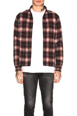 JOHN ELLIOTT Wool Flannel Shirt in Plaid,Black,Red. - size XL (also in S,M,L)
