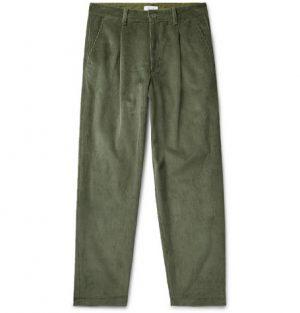 John Elliott - Tuck Wide-Leg Pleated Cotton-Corduroy Trousers - Men - Army green
