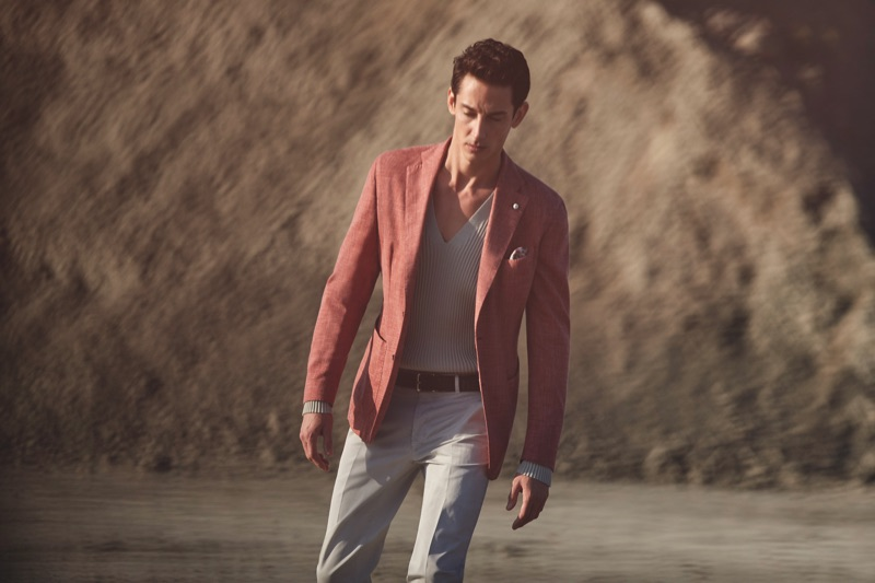 Donning smart separates, Andrey Smidl wears L.B.M. 1911.