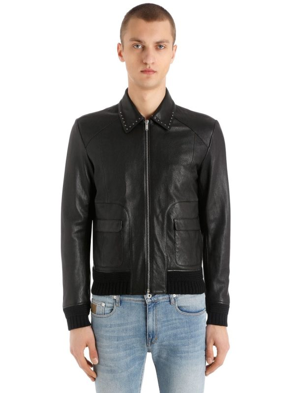 Leather Jacket W/ Studded Collar