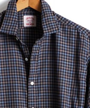 Made in the USA Hamilton + Todd Snyder Navy/Brown Tattersall Dress Shirt