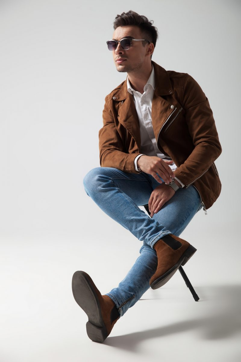 Male Model Wearing Brown Chelsea Boots