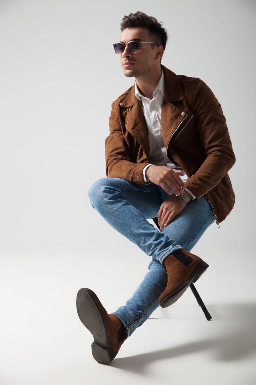 Male Model Wearing Brown Chelsea Boots