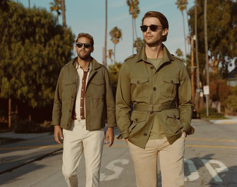 Embracing safari style, Luke Stedman and Patrick Schwarzenegger star in Mango Man's spring-summer 2019 campaign.