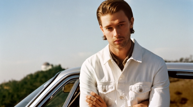 Patrick Schwarzenegger dons a white look for Mango Man's spring-summer 2019 campaign.