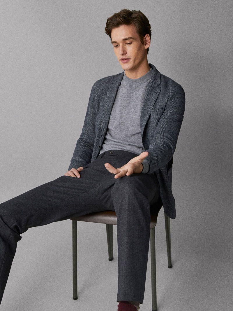 Jegor Venned embraces shades of grey in Massimo Dutti.