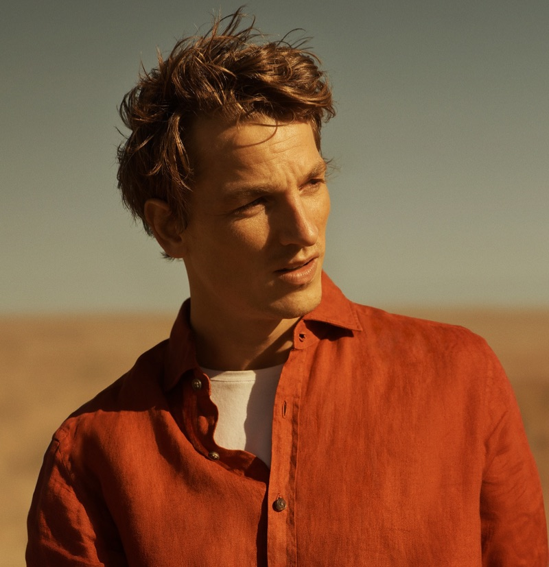 French model Hugo Sauzay reunites with Massimo Dutti for its spring-summer 2019 campaign.