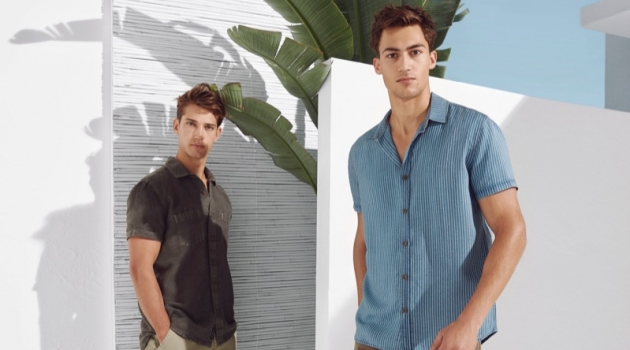 Models Ben Bowers and Alessio Pozzi wear spring-summer 2019 fashions from Mavi.