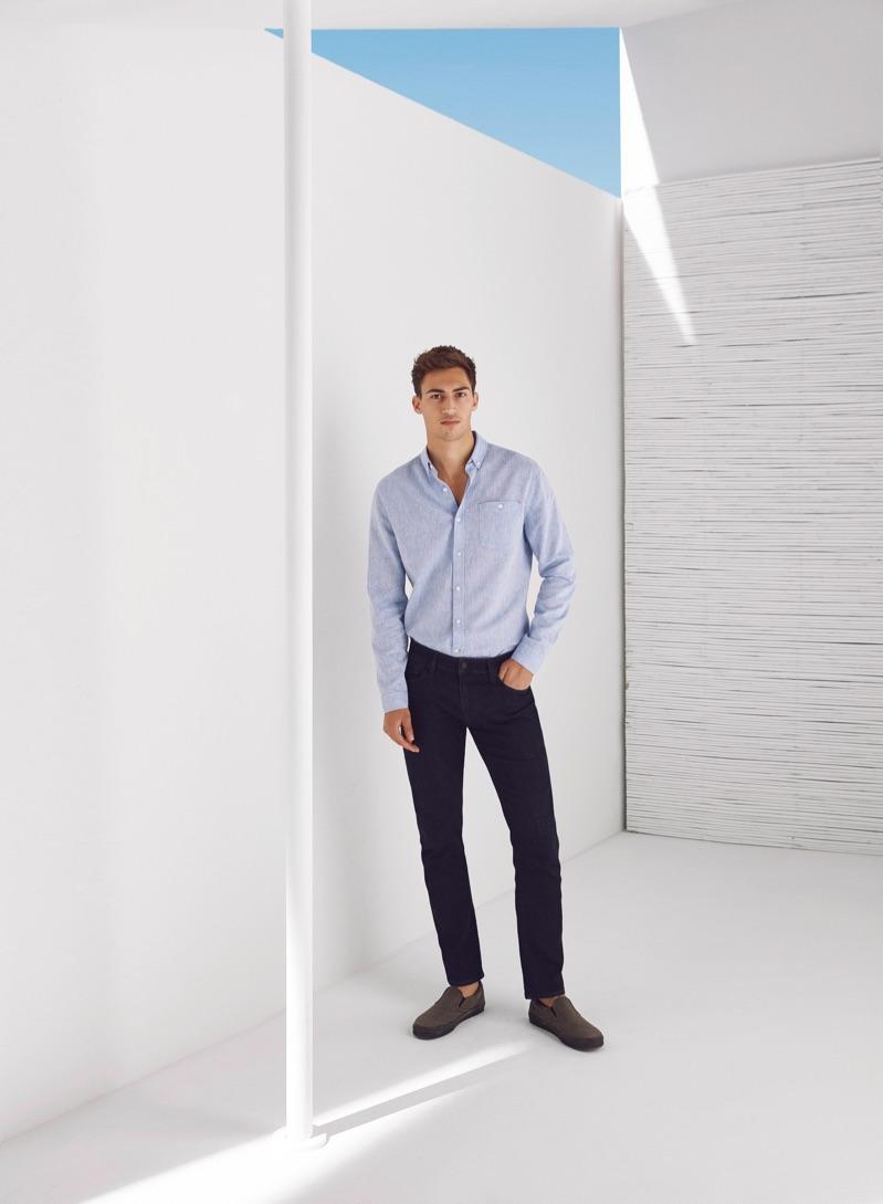 Italian model Alessio Pozzi dons a smart look from Mavi.