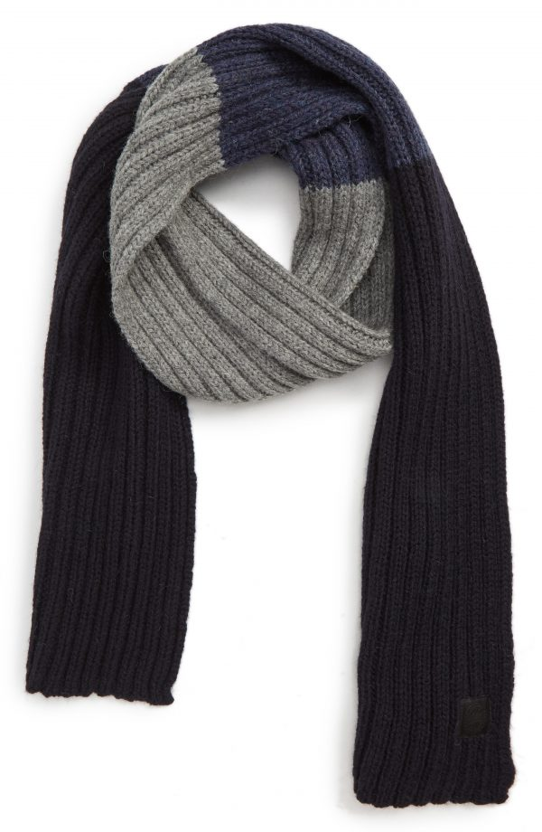 Men's Canada Goose Colorblock Ribbed Wool Scarf, Size One Size - Blue