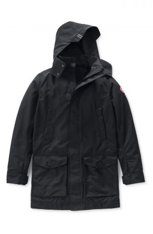 Men's Canada Goose Crew Trench Jacket With Removable Hood, Size Small - Black