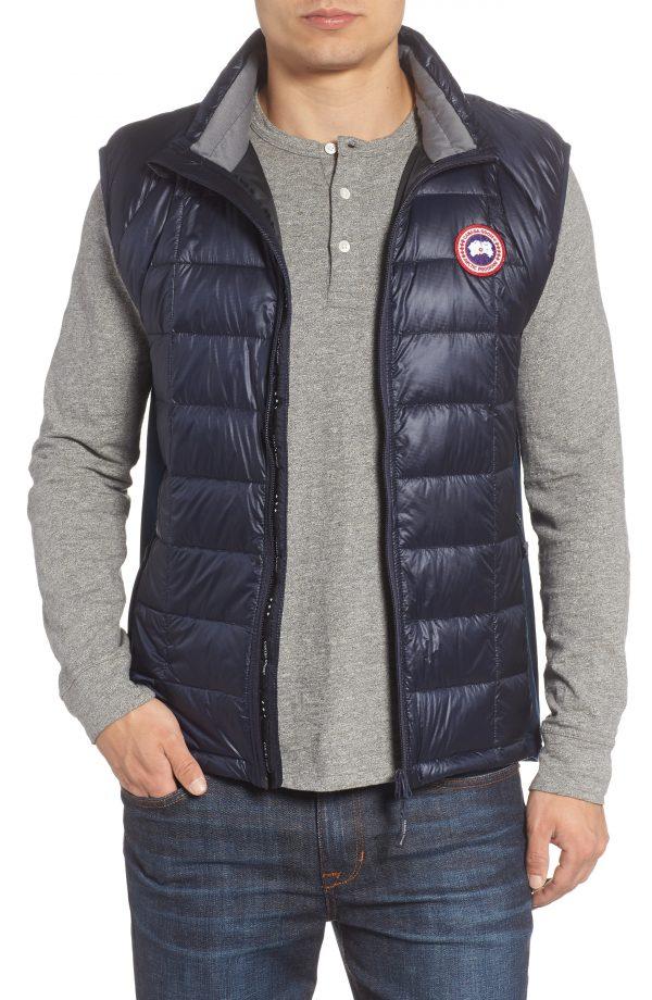 Men's Canada Goose 'Hybridge(TM) Lite' Slim Fit Packable Quilted 800-Fill Down Vest, Size Small - Blue