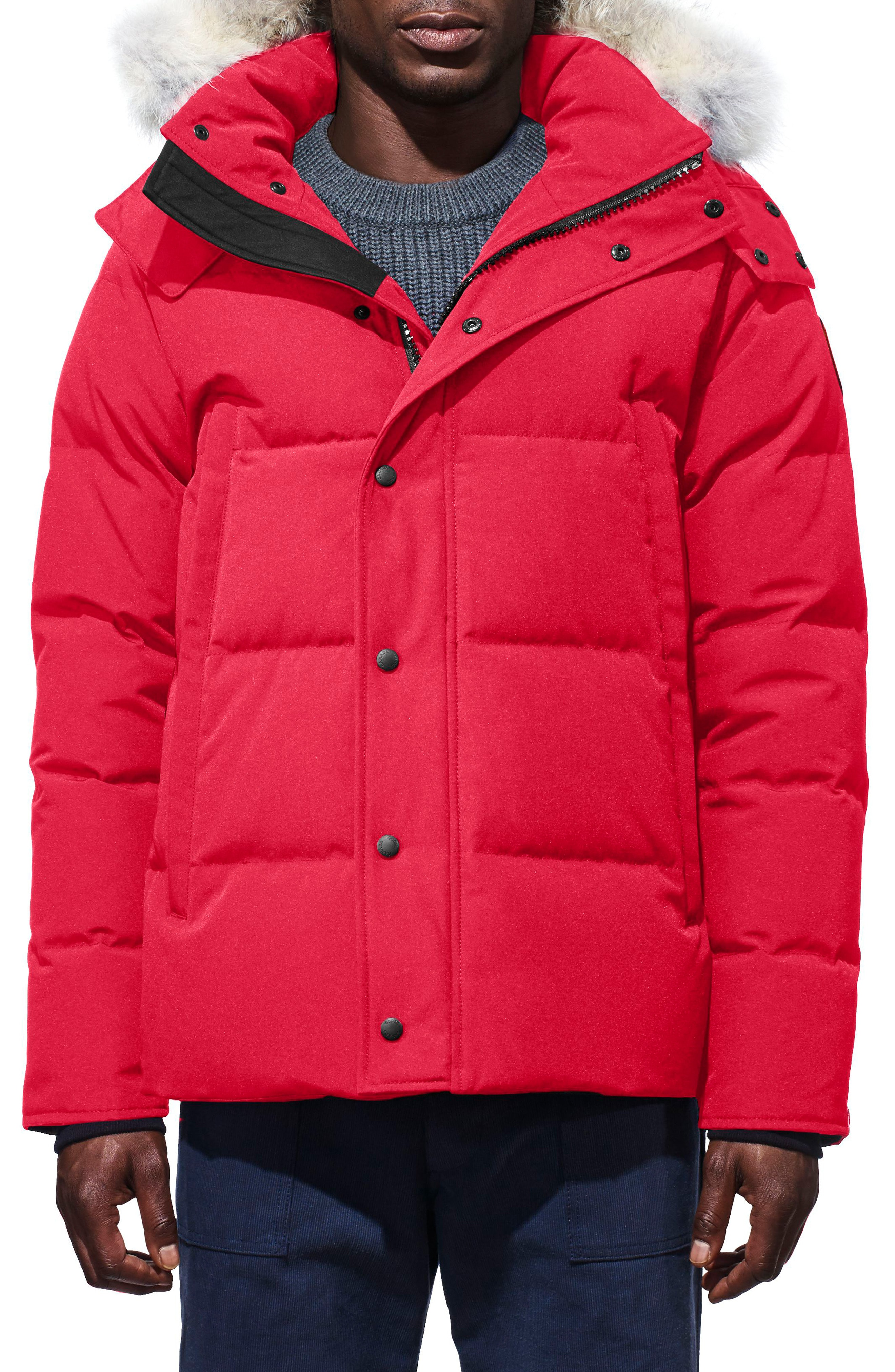 79d400c14b1 Men's Canada Goose Wyndham Slim Fit Genuine Coyote Fur Trim Down Jacket,  Size X-Small - Red