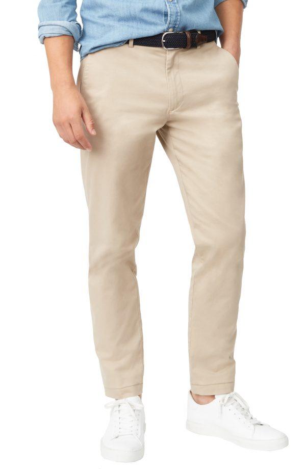 Men's Club Monaco Connor Trim Fit Stretch Cotton Chino Pants, Size 32 x 30 - Beige