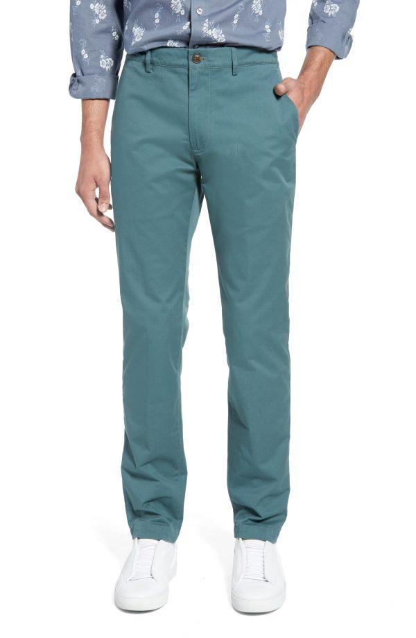 Men's Club Monaco Connor Trim Fit Stretch Cotton Chino Pants, Size 32 x 32 - Blue
