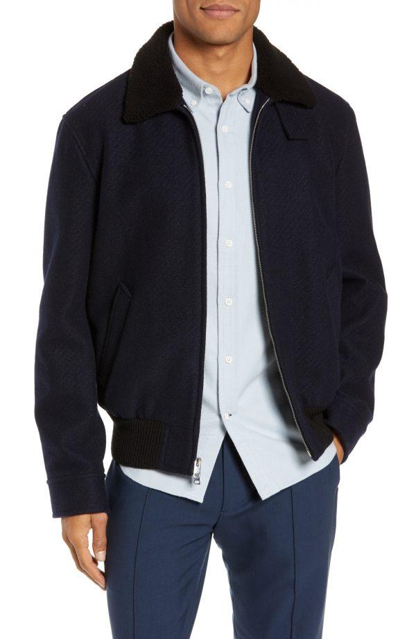 Men's Club Monaco Trim Fit Bomber Jacket With Genuine Shearling Collar, Size Medium - Blue
