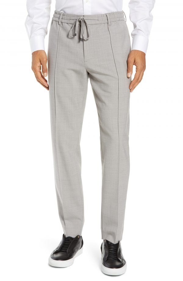 Men's Club Monaco Trim Fit Pintuck Pants, Size Large - Grey