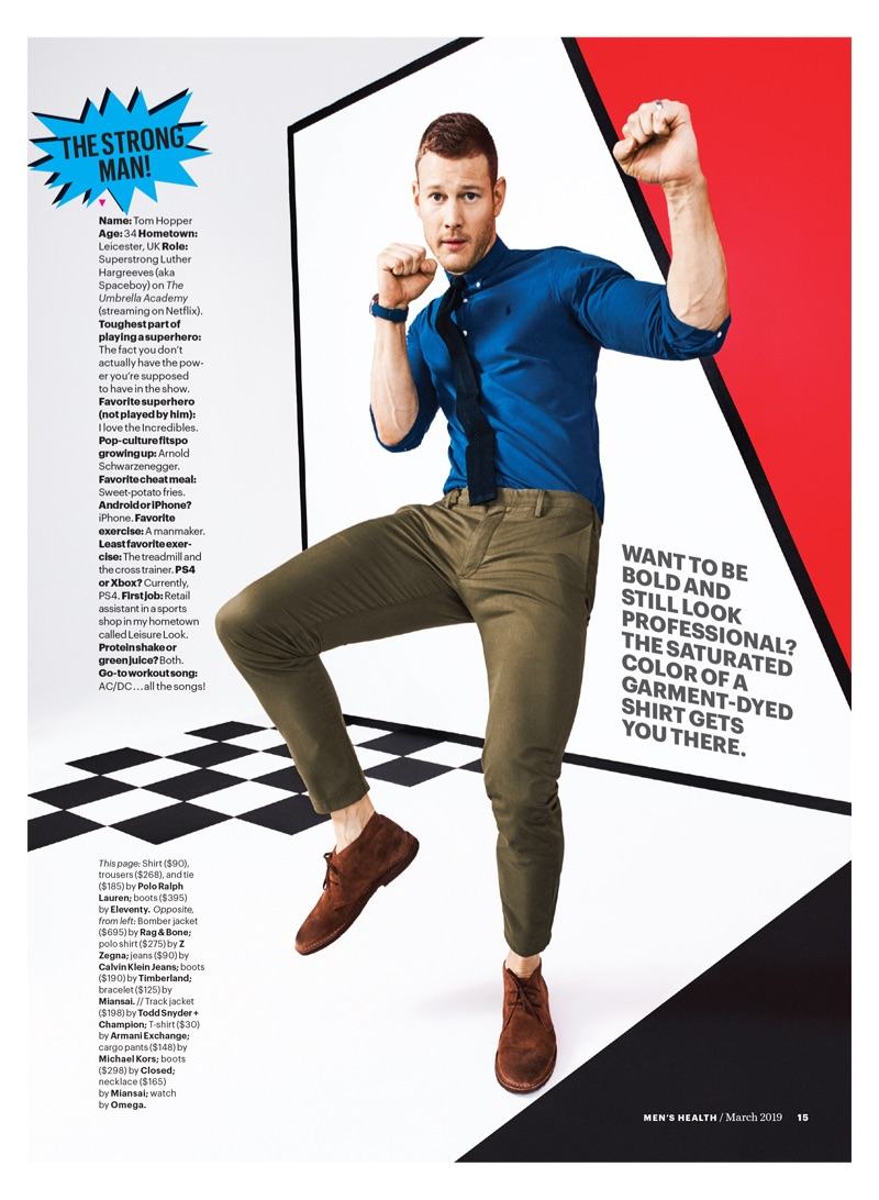 Tom Hopper sports a shirt, tie, and trousers by POLO Ralph Lauren. He also dons Eleventy boots.
