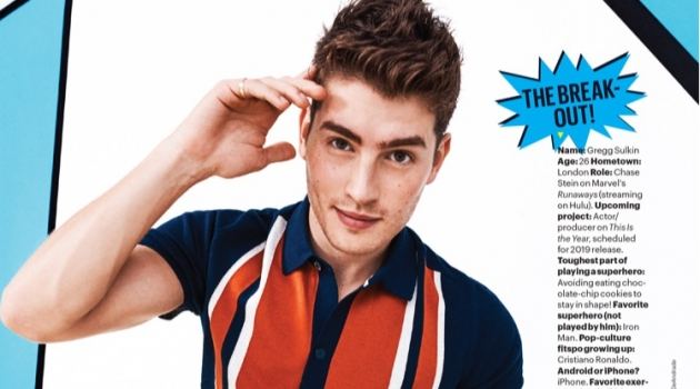 Gregg Sulkin dons a Ben Sherman polo with a Lacoste watch and trousers.